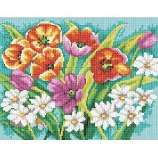 Алмазная мозаика Прекрасные цветы, 30x40, полная выкладка, Белоснежка