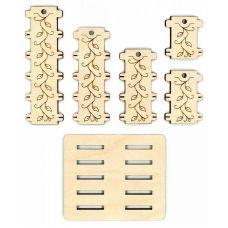 Бобины для ниток + подставка С орнаментом, 3,5x11, Щепка (МП-Студия)