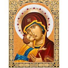Мозаика стразами Икона Владимирская Богородица, 30x40, полная выкладка, Алмазная живопись