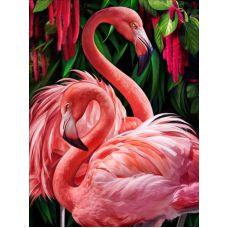 Мозаика стразами Пара фламинго, 30x40, полная выкладка, Алмазная живопись