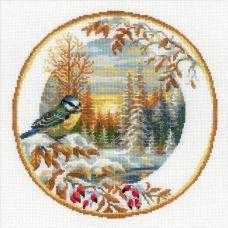 Набор для вышивания крестом Тарелка с синицей, 30x30, Риолис, Сотвори сама