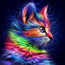 Мозаика стразами Разноцветный котенок, 30x30, полная выкладка, Алмазная живопись