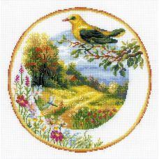 Набор для вышивания крестом Тарелка с иволгой, 30x30, Риолис, Сотвори сама