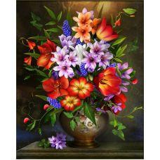 Мозаика стразами Цветочное ассорти, 40x50, полная выкладка, Алмазная живопись