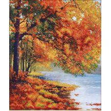 Набор для вышивания бисером Осенний берег, 34x42, Магия канвы