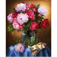 Мозаика стразами Шикарные пионы, 40x50, полная выкладка, Алмазная живопись