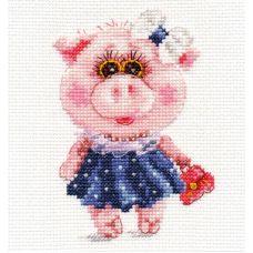 Набор для вышивания крестом Свинка Тося, 10x12, Алиса