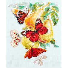 Набор для вышивания крестом Бабочки на груше, 21x27, Чудесная игла