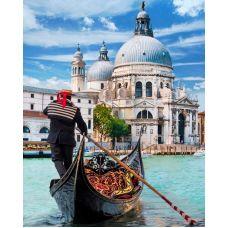 Мозаика стразами Венецианский гондольер, 30x40, полная выкладка, Алмазная живопись