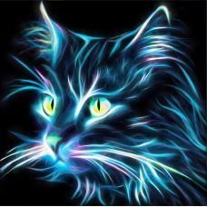 Мозаика стразами Неоновый кот, 25x25, полная выкладка, Алмазная живопись