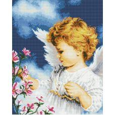 Алмазная мозаика Малютка Ангел, 40x50, полная выкладка, Белоснежка