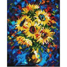 Алмазная мозаика Ночные подсолнухи, 20x25, полная выкладка, Белоснежка