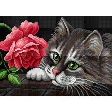 Алмазная мозаика на магнитной основе Кот и роза, 20x28,5, полная выкладка, Вышиваем бисером