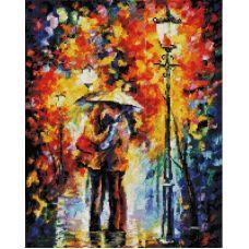 Алмазная мозаика Поцелуй под дождем, 40x50, полная выкладка, Белоснежка