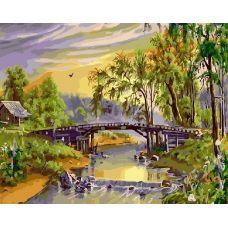 Живопись на холсте Домик у реки, 40x50, Paintboy, GX21133