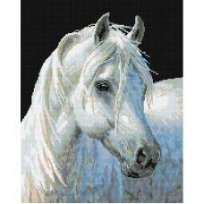 Алмазная мозаика Белый конь, 40x50, полная выкладка, Белоснежка