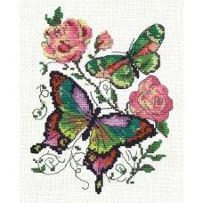 Набор для вышивания крестом Бабочки и розы, 14x18, Чудесная игла