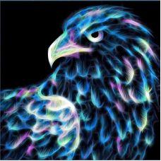 Мозаика стразами Неоновый орел, 25x25, полная выкладка, Алмазная живопись
