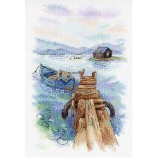 Набор для вышивания крестом Утро на причале, 25x18, МП-Студия, Акварель