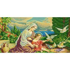 Ткань для вышивания бисером Мадонна и голуби, 25x45, Конек