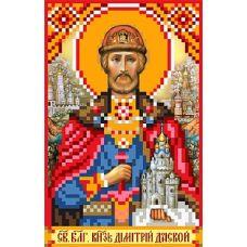 Рисунок на шелке Святой Князь Дмитрий Донской, 22x25 (9x14), Матренин посад