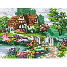 Алмазная мозаика Мостик в цветах, 30x40, полная выкладка, Белоснежка