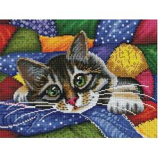 Алмазная мозаика Котик в лоскутках, 30x40, полная выкладка, Белоснежка