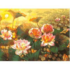 Живопись по номерам Таинственный мир лотоса, 30x40, Белоснежка