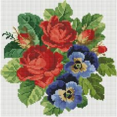 Алмазная мозаика Букет с красными розами, 30x30, полная выкладка, Белоснежка