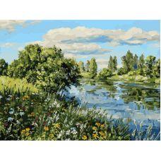 Живопись по номерам Летний день у реки, 30x40, Белоснежка