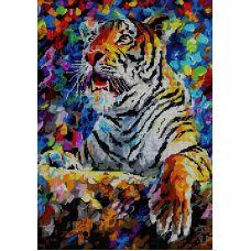Схема Принт для вышивки бисером Тигр вожак, 27x38, Вышиваем бисером