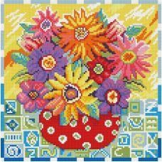 Алмазная мозаика Цветики цветочки, 30x30, полная выкладка, Белоснежка