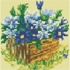 Алмазная мозаика Васильки в саду, 20x20, полная выкладка, Белоснежка