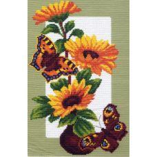 Набор для вышивания крестом Подсолнухи и бабочки, 28x37 (20x30), Матренин посад