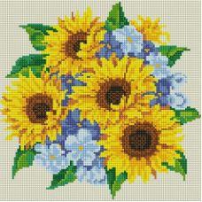 Алмазная мозаика Букет с подсолнухами, 30x30, полная выкладка, Белоснежка