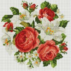 Алмазная мозаика Розы и лилии, 30x30, полная выкладка, Белоснежка