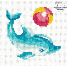 Набор для вышивания крестом Дельфинчик, 12x12, Чудесная игла