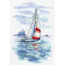 Набор для вышивания крестом Морская регата, 25x18, МП-Студия, Акварель