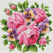 Алмазная мозаика Розы и анютины глазки, 20x20, полная выкладка, Белоснежка