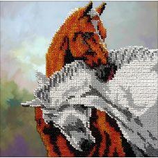 Набор для вышивания Лошади, 19x19, Вышиваем бисером