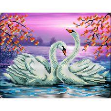 Набор для вышивания Лебеди на пруду, 20x24,5, Вышиваем бисером