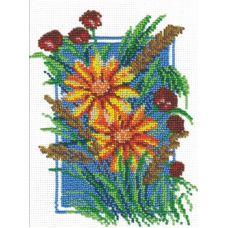 Набор для вышивания бисером Ромашки и маки, 17x20, МП-Студия