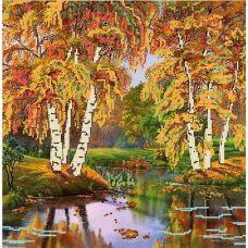 Канва с рисунком Осень, 40x40, Божья коровка