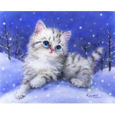 Живопись на холсте Снежный котенок, 40x50, Paintboy, GX4524