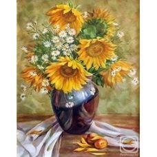 Живопись на холсте Ваза с подсолнухами, 40x50, Paintboy, GX22799
