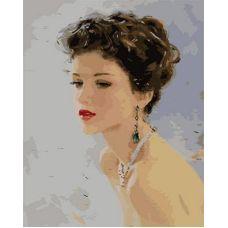 Живопись по номерам Девушка с изумрудными серьгами, 40x50, Paintboy, GX9034