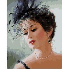 Живопись по номерам Девушка в шляпке с вуалью, 40x50, Paintboy, GX9037