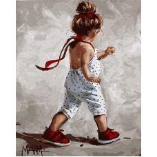 Живопись по номерам Девочка в комбинезоне, 40x50, Paintboy, GX9243