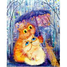 Живопись по номерам Котята под зонтом, 40x50, Paintboy, GX4085