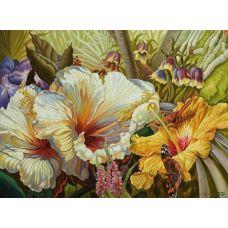 Живопись по номерам Цветок с мотыльком, 40x50, Paintboy, GX7281
